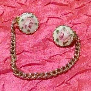Vintage GUILLOCHE Enamel Pink Flower Sweater Guard